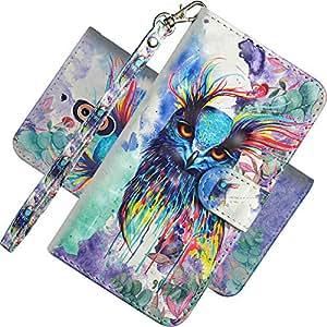EMAXELER Nokia 2.1 手机壳 3D 全时尚保护套保护彩色压花支架翻盖信用卡口袋PU皮革翻盖钱包带支架 适用于诺基亚 2.1 3D: Colored Owl