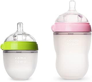 COMOTOMO可么多么自然觸感嬰兒奶瓶 - 2件裝(綠色/粉色,5盎司/8盎司)