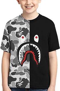 Bape Shark 半灰色迷彩男孩女孩 3D 印花短袖 T 恤時尚青少年 T 恤