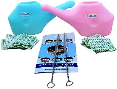 两件套旅行用塑料Neti 锅,含20袋盐 + 2支刷子   小巧方便旅行设计   自然* 适用于死皮、*和堵塞