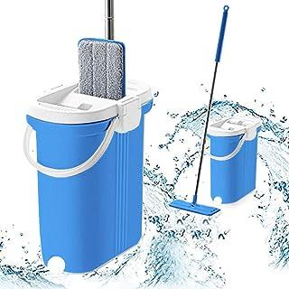 Simpli-Magic 79297 专业家用清洁平板拖把和水桶套装带铝手柄/可洗超细纤维垫,蓝色