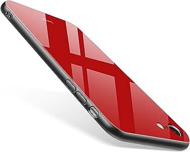 Simai iPhone 8 iPhone 7 手机壳,适用于 Apple iPhone 8/7 的钢化玻璃后盖手机壳SM68TG80118 Red - Black Frame
