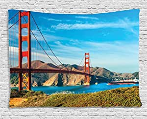 Ambesonne Apartment Decor Collection, Golden Gate, San Francisco, Usa. Clear Summer Sky Sunny Day Ocean Stones Touristic, Bedroom Living Room Dorm Wall Hanging Tapestry, 80W X 60L Inch