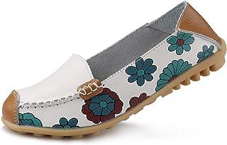 Ablanczoom 女式舒适皮革花卉印花平底鞋休闲驾驶乐福鞋女式步行鞋 白色 11.5