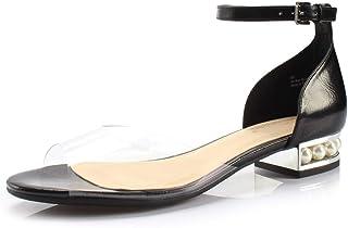 DUNION 女式 Alina 珍珠装饰低坡跟凉鞋婚礼办公室礼服鞋