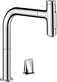 hansgrohe 汉斯格雅 73816000 M7117-H320 厨房用水壶,软管盒,可选择旋转范围,拉出喷雾,铬, 亮灰色 Spout height 24 cm 73818000