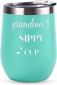 不锈钢无钢杯酒杯带盖妈果汁双壁真空杯母亲节生日可爱新颖礼物送给妈妈妈妈 12盎司(蓝色) Grandma's Sippy Cup 12盎司