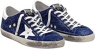 Golden Goose 豪华品牌蓝色男式 Superstar 运动鞋 G33MS590.H87 颜色:蓝色