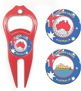Hat Trick Openers Hat Trick 6 合 1 高尔夫草皮工具和扑克筹码套装澳大利亚徽标 红色 HTPC9213AUS