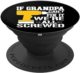 If Grandpa Cant Fix It - 父亲节父亲节礼物 PopSockets 手机和平板电脑握架260027  黑色