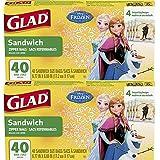 Glad (TM) 食品储存袋,三明治尺寸拉链袋,Disney 冰雪奇缘 (TM),80 片