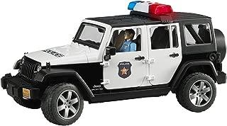 Bruder Toys Jeep Rubicon 警车,黑暗皮肤警察 Jeep W/ Light Skin Policeman