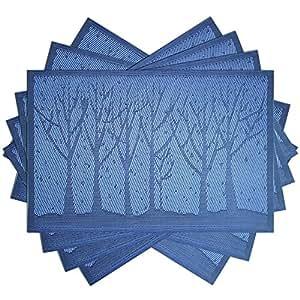 Kitchen Talents 优质时尚欧式风格 PVC 垫隔热桌垫防滑垫,一套 6 件 蓝色 45x30cm unknown