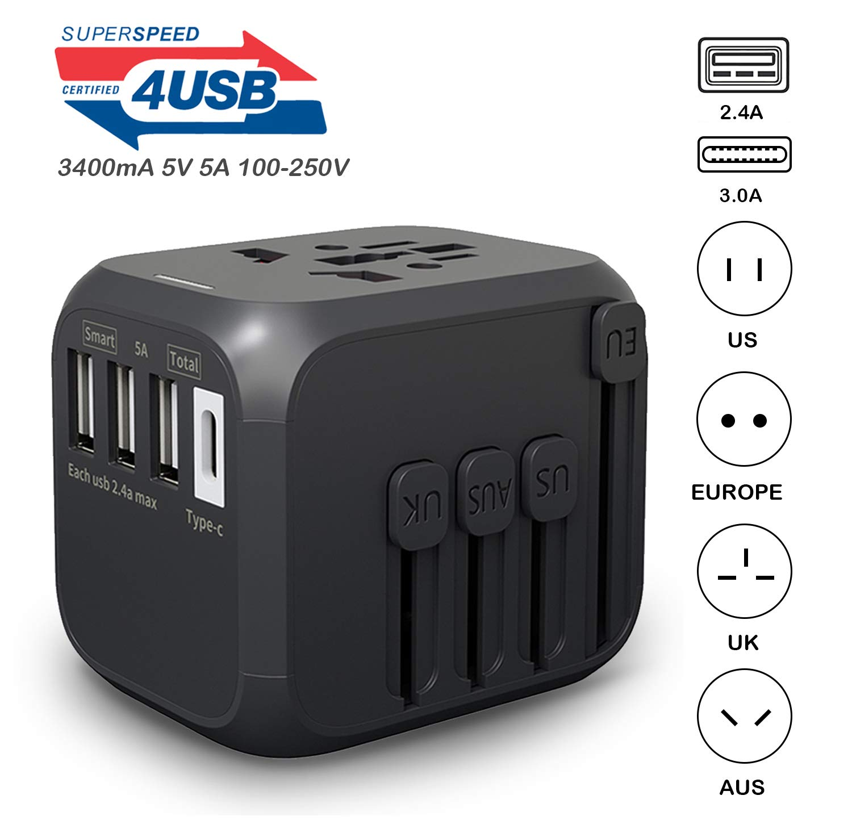 4a c 4 usb 国际世界电源插头适配器套件旅行壁式充电器 usb
