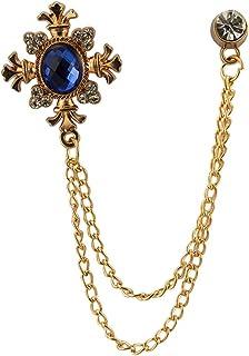 AN KINGPiiN 皇家蓝闪光石带玫瑰金雕刻挂链翻领别针,胸针西装铆钉,衬衫铆钉男士配饰