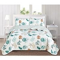 Great Bay Home 3 件套海岸海滩主题被子套装洗衣。 柔软四季奢华超细纤维双面床单罩。 St. Croix 系列品牌。 Key West 两个 GB90039-CA