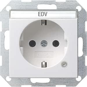 Gira 045227 Schuko 插座 标签区域 控制系统 55,纯白色 无光泽
