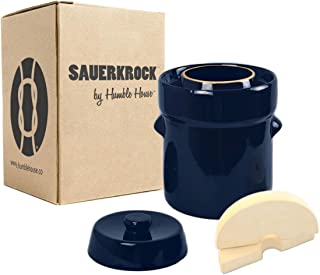 Humble House 德国式发酵 Crock SAUERKROCK 水密封罐、盖子和重量 - 用于发酵酱、Kimchi 和挑库! 帝国蓝 2L