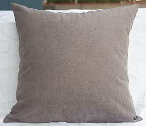 "TangDepot 纯色羊毛抱枕套/欧式枕套/靠垫枕套,超豪华柔软枕套 - 手工制作 - 多种颜色及尺寸可选 Middle Brown 16"" x 16"" TPCover-WoolLike-16x16MiddleBrown"