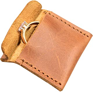 Hide & Drink,皮革婚戒套,超薄订婚袋,结婚,手工制作包括 101 年质保:单马桃木