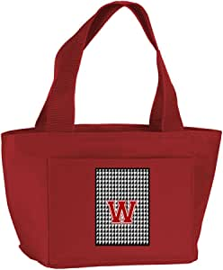 Caroline's Treasures CJ1021-W-RD-8808 Letter W Monogram - Houndstooth Black Zippered Insulated School Washable and Stylish Lunch Bag Cooler, Large, Red