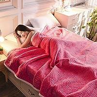 帕兰帝 毛毯冬季空调毯加厚珊瑚绒毯子毛巾被盖毯法兰绒午睡毯单人床单 三层复合玫红 150cmX200cm 拒绝仿品 足重4.3斤