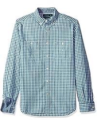 Nautica 男式长袖条纹衬衫扣领衬衫