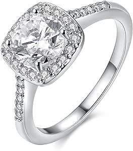 Xiaomei 925 纯银立方钻 Cz 钻石订婚新娘首饰戒指 银色 US code 8 XM-08-15-05