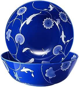 骨瓷碗,473.59 毫升升高碗套装,适用于意大利面谷物甜点,51盎司沙拉碗套装,白色和蓝色 Continueing Blue Set of 2 51 OZ Salad Bowl