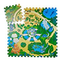 Relaxdays 恐龙拼图垫 9 件套儿童拼图垫 无害 EVA 泡沫 90 x 90 厘米 彩色