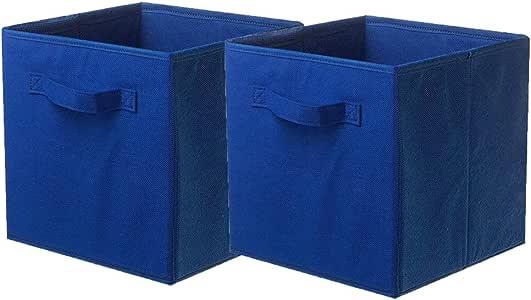 Shellkingdom Foldable Cloth Storage Cube Basket Bins Organizer Containers Drawers, 2 Pack (Dark Blue)