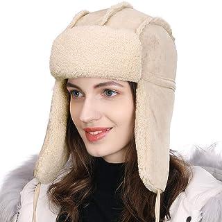 Comhats SIGGI 女士耳罩捕猎帽人造毛皮狩猎帽羊毛内衬厚针织衫  00781_beige Medium