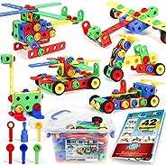 163 件套 STEM 玩具套件,*建筑工程积木学习套装,适合 3 4 5 6 7 8 9 10 岁男孩和女孩,Brickyard 出品,*好的儿童玩具,创意游戏和娱乐活动