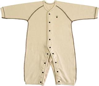 有机棉双面针织长袖前开套四内衣 no20612日本制造 米黄色 90