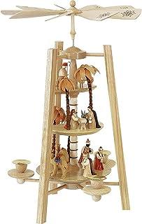 德国圣诞金字塔 耶稣诞生场景,3层,高度 42 厘米 / 17 英寸,天然的,厄尔士原作由Richard Glaesser Seiffen完成