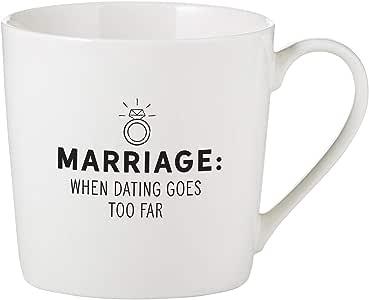 SB Design Studio 骨瓷咖啡杯/咖啡杯 Dating Goes Too Far 14-Ounce D4453