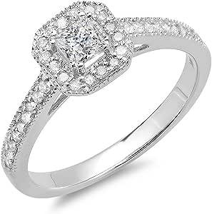 0.50 Carat (ctw) 14K White Gold Princess & Round Diamond Halo Bridal Engagement Ring 1/2 CT (Size 8)
