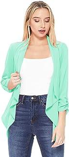 女士纯色休闲宽松舒适开放式垂褶领开衫夹克/美国制造