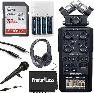 Zoom H6 全黑色 6 输入 / 6 轨道便携式便携式便携式录音机,带单麦克风胶囊(黑色)+ 32GB 存储卡 + Samson SR350 立体声耳机 + 动态手持麦克风 + 4 节 AA 电池 + 充电器