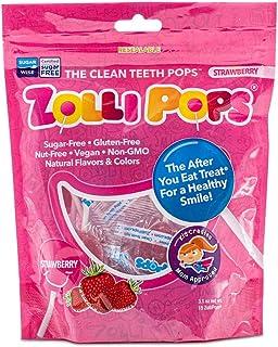 Zollipops 清潔牙齒棒棒糖| 木糖醇抗蛀牙,無糖糖果,帶給您健康的笑容-非常適合兒童,和生酮飲食者(草莓,3.1盎司/約87.88克)