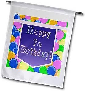 3dRose fl_174810_1 气球带紫色横幅 Happy 7Th 生日花园旗,30.48 x 45.72 cm