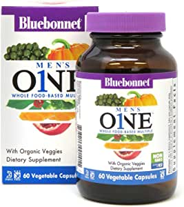 Bluebonnet Nutrition Men's One Vegetable Capsules, Whole Food Multiple, K2, Organic Vegetables, NSF True North, Non GMO, Gluten Free, Soy Free, Milk Free, Kosher, 60 Vegetable Capsules, 2 Month Supply