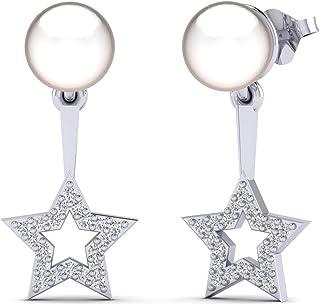 Fehu Jewel 1/6 克拉天然钻石镀金银可爱星珍珠耳坠