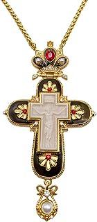 Nazareth Store 耶稣阴谋十字架黑色珐琅水晶红石基督教牧师耶稣受难吊坠 24 英寸(约 60.9 厘米)礼品盒