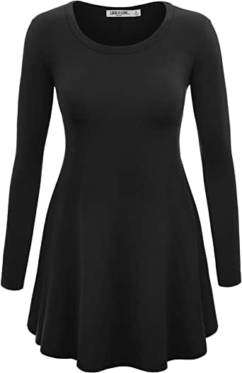 Lock and Love Women's Long Sleeve Trapeze Tunic for Leggings-Made in USA