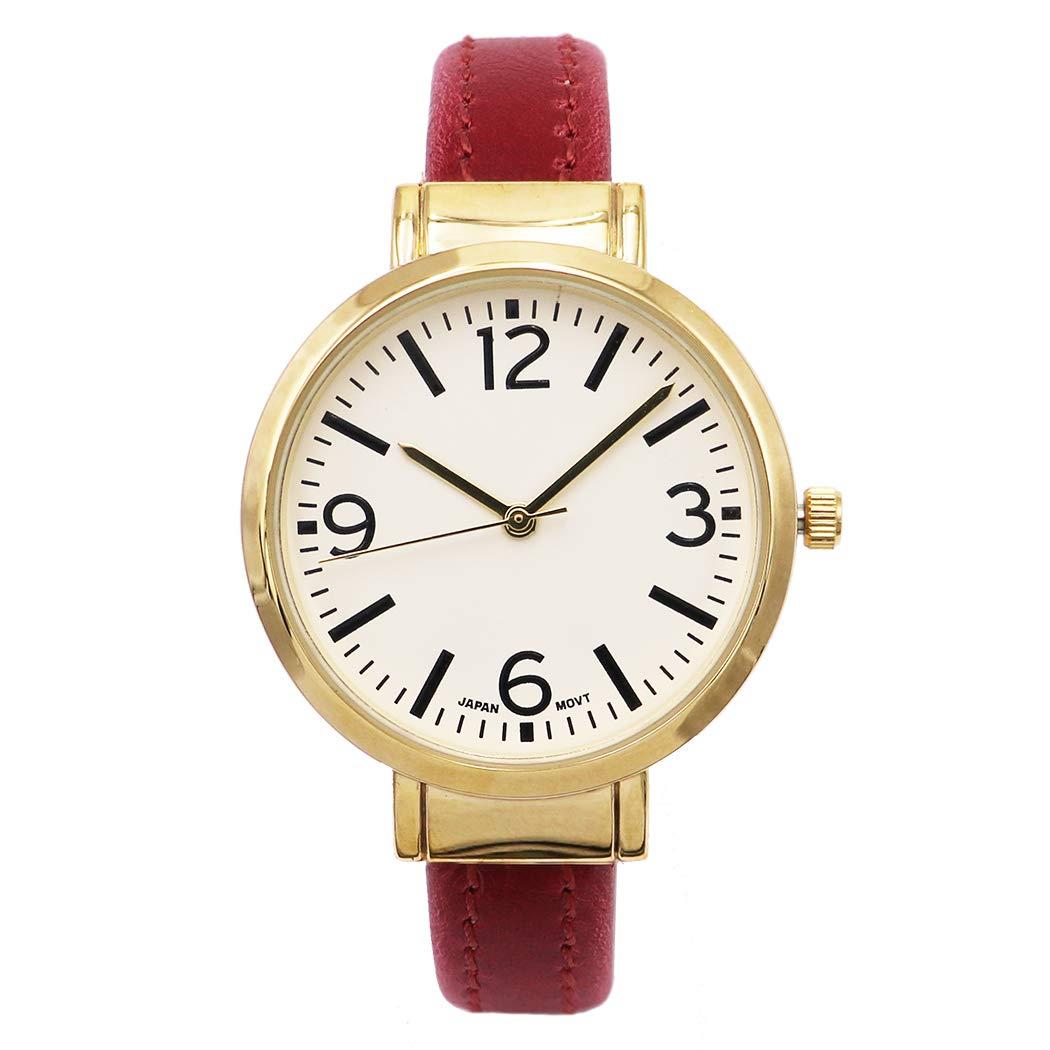 Rosemarie Collections 女士圆形人造皮革袖口手镯手表