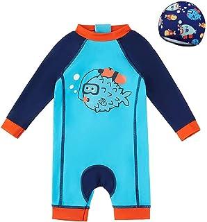 婴儿/幼儿/男孩连体鲨鱼泳衣儿童泳装沙滩泳衣*衣带遮阳帽
