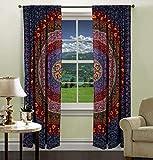 印度曼德拉打印厨房窗帘窗帘和帷幔套装宿舍挂毯,印度悬垂阳台房间装饰窗帘波西米亚风格