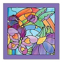 Melissa & Doug 彩色玻璃透视窗艺术套件:彩虹花园 - 80 多张贴纸,框架