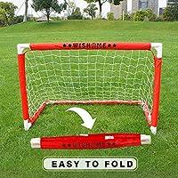 WISHOME 儿童迷你足球门套装 - 后院/室内迷你网和球套装 带泵 - 便携式折叠青少年足球门套装